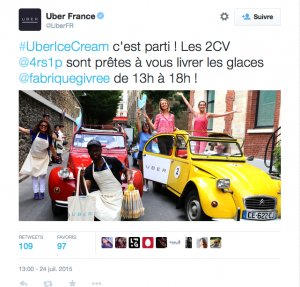 tweet qui lance l'opération #UberIceCream